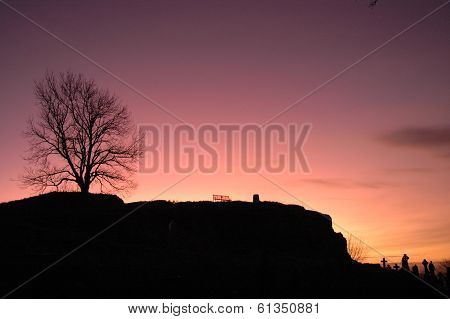Graveyard Silhouette at Sunset