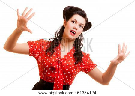 Portrait Retro Terrified Woman In Red Screaming Isolated. Fear.