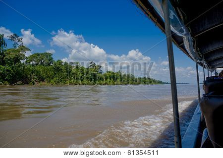 Boating on the Rio Napo River, Ecuadorian Amazon