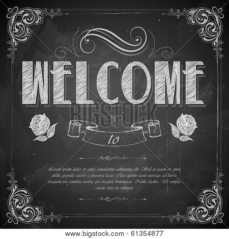 illustration of Welcome written on chalkboard