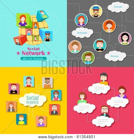 illustration of social media concept with people connected in flat style