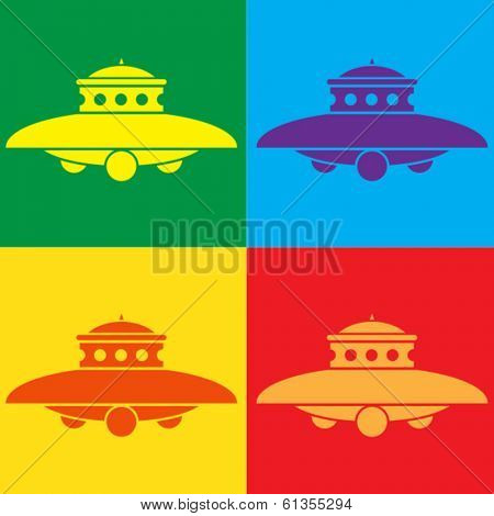 UFO Flying Saucer POP Illustration