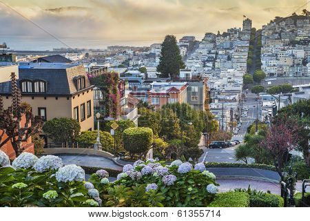 San Francisco early morning view from the top of the Lombard Street