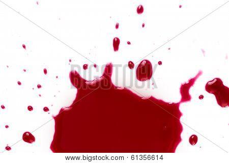 Murder. Red blood on white background