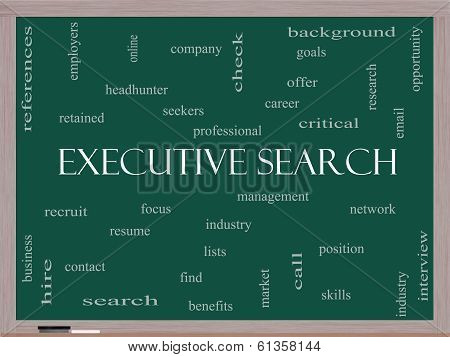 Executive Search Word Cloud Concept On A Blackboard