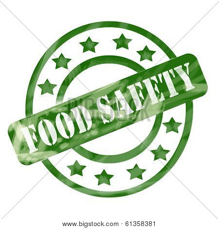 Green Weathered Food Safety Stamp Circles And Stars