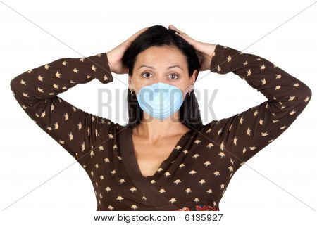 Worried Girl With Mask