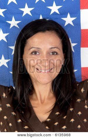 American Brunette Girl Isolated On White Background
