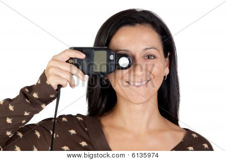 Brunette Girl With A Photometer