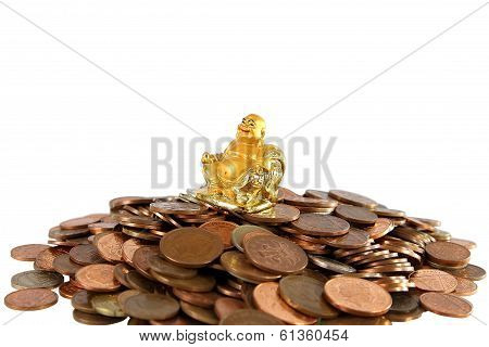 Smiling Golden Buddha Statue On Heap Of Different Coins On White Background.