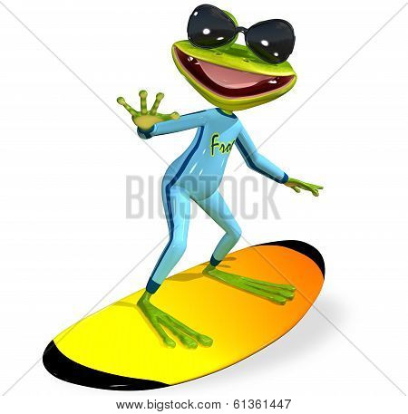 Green Frog On A Surfboard