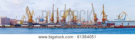 Lifting cranes in the port of Odessa