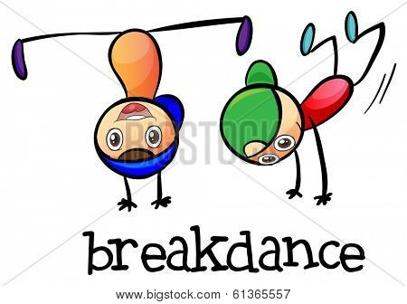 Illustration of a breakdance on a white background