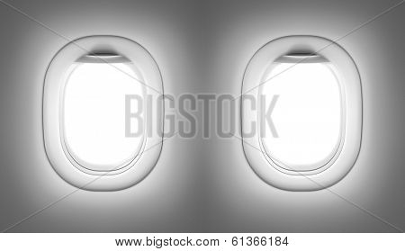 Airplane or jet interior with windows