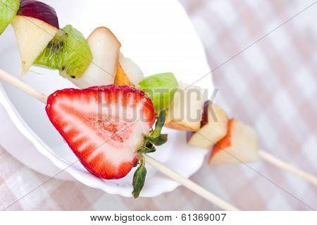 Fruit Shashlik On White Plate