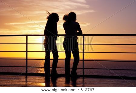 Two Girls Black Silhouette