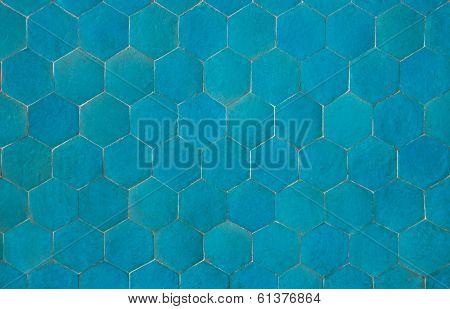 Background Of Hexagonal Blue Tiles