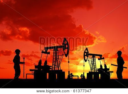 Two Man On Oilfield With Pump