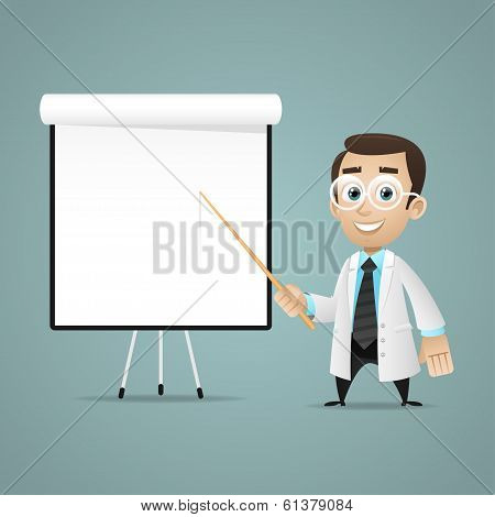 Young scientists points on flipchart
