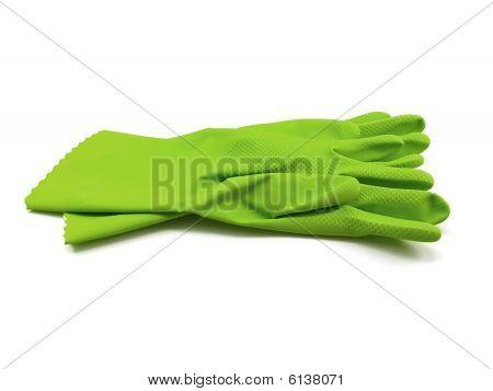 Green Rubber Gloves