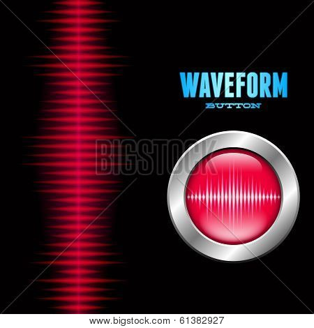Silver button with sound waveform sign