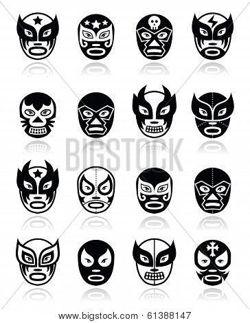 Lucha libre, luchador mexican wrestling black masks icons