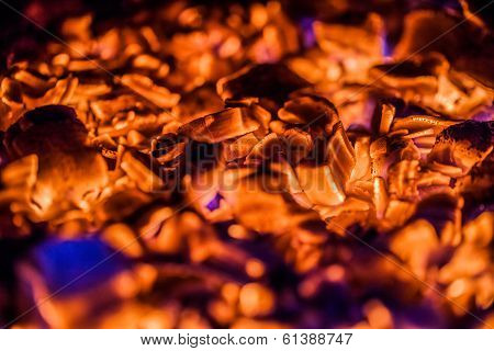 Bright Orange Embers In A Wood Stove
