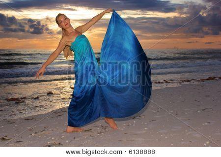 Dance Pose On Beach