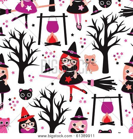 Seamless little witch girl kids illustration fantasy land background pattern in vector
