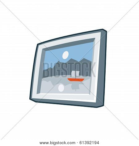 Photo Frame Icon In Cartoon Style