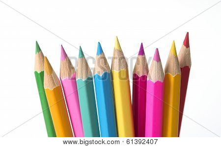 Set Of Drawing color Pencils With Copy Space