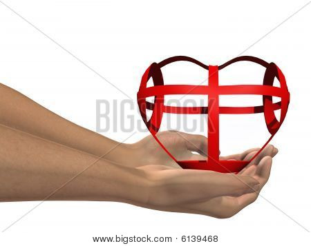 HIGH RESOLUTION red 3D heart held in hands by an adult male
