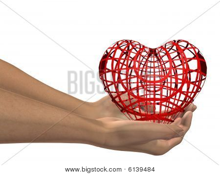 high resolution red 3D heart held in hands