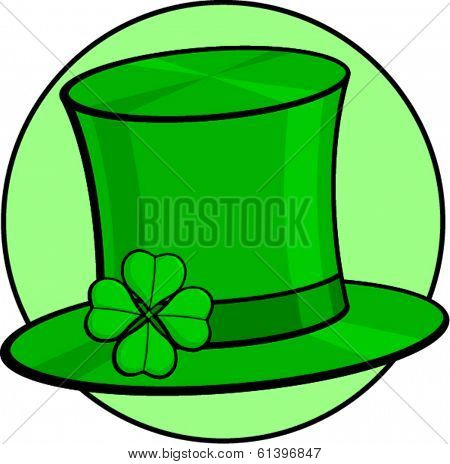 Saint Patrick's day celebration top hat with a clover with four leaves