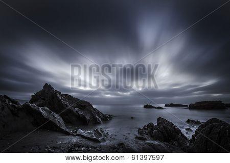 Moody blue sunrise at hannafore point