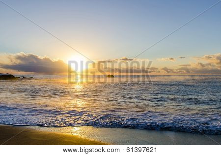 sunrise over sea in cornwall