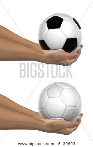 High resolution black and white 3D soccer balls held in hands
