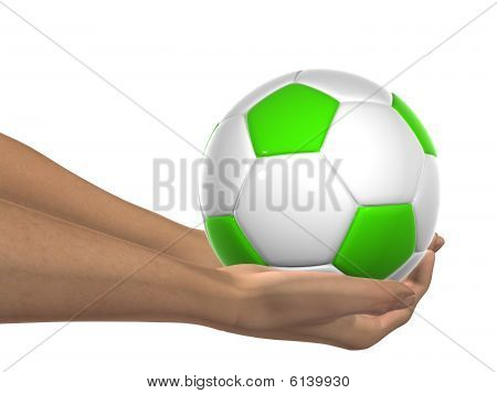 HIGH RESOLUTION  green and white 3D soccer ball held in hands