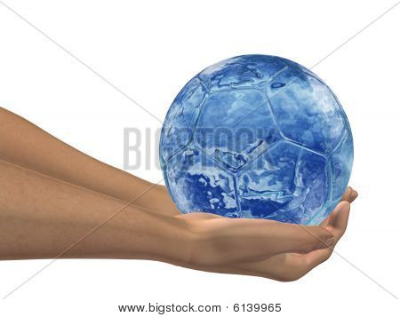 HIGH RESOLUTION blue water 3D soccer ball held in hands