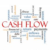 stock photo of debt free  - Cash Flow Word Cloud Concept with great terms such as return investment payments and more - JPG