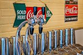 MIDWAY, KENTUCKY, USA - JULY 06, 2013: Traditional 1950s soda fountain in a pharmacy shop in Midway,