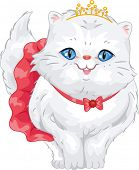 foto of frilly  - Illustration of a Cute Persian Cat Wearing a Frilly Skirt and a Tiara - JPG