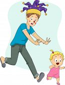 Illustration of a Father Wearing a Fool's Cap Playfully Chasing His Baby Girl