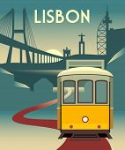 pic of tram  - Vector poster  - JPG
