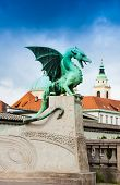 picture of yugoslavia  - Ljubljana downtown and statue on the Dragon Zmajski most bridge - JPG