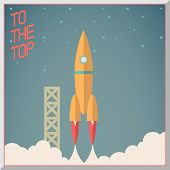 pic of spaceman  - Retro Flat Design Rocket Start Space Stars Background Vector Illustration - JPG