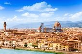 stock photo of mary  - Cityscape panorama of Arno river towers and cathedrals of Florence - JPG