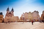 picture of bohemia  - Old Town Square in Prague on sunny day - JPG