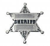 silver sheriff's badge on white