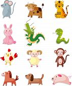 image of baby pig  - 12 animal icon set Chinese Zodiac animal vector and cool illustration file - JPG